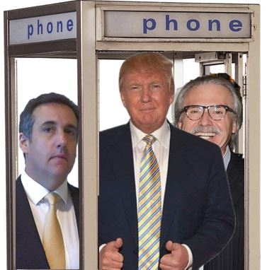 Donald Trump, Michael Cohen and David Pecker jammed into a phone booth
