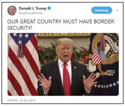Donald Trump tweet about border security