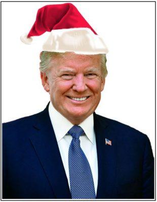 Donald Trump wearing a Santa hat