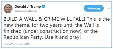 Donald Trump's tweet saying build a wall