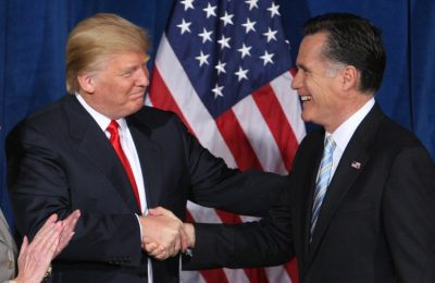 Donald Trump shaking hands with Mitt Romney
