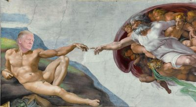 The Creation of Adam from the Sistine Chapel, with Donald Trump's face in place of Adam's