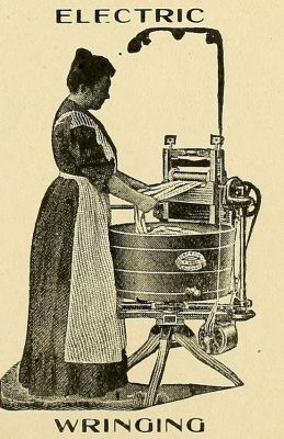 An old-fashioned wringer washing machine