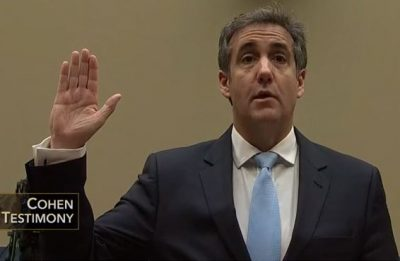 Michael Cohen sworn in before testifying before Congressional Oversight Committee
